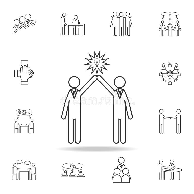 Conceito dos povos da ampola do ícone de dois povos Grupo detalhado de ícones do esboço do trabalho da equipe Ícone superior do p ilustração royalty free