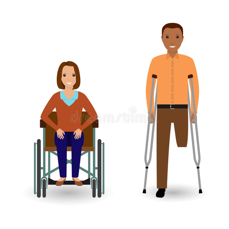 Conceito dos povos da inabilidade Mulher inválida na cadeira de rodas e no homem deficiente com as muletas isoladas em um fundo b ilustração do vetor