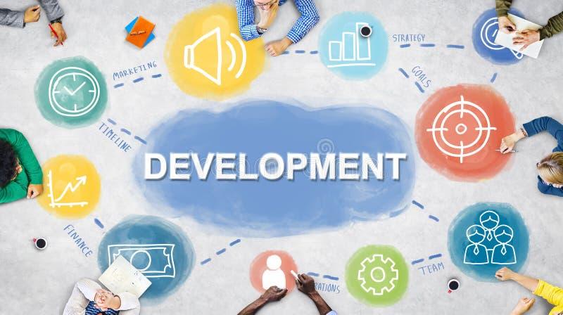 Conceito dos procedimentos do desenvolvimento da realização do plano de negócios fotografia de stock royalty free