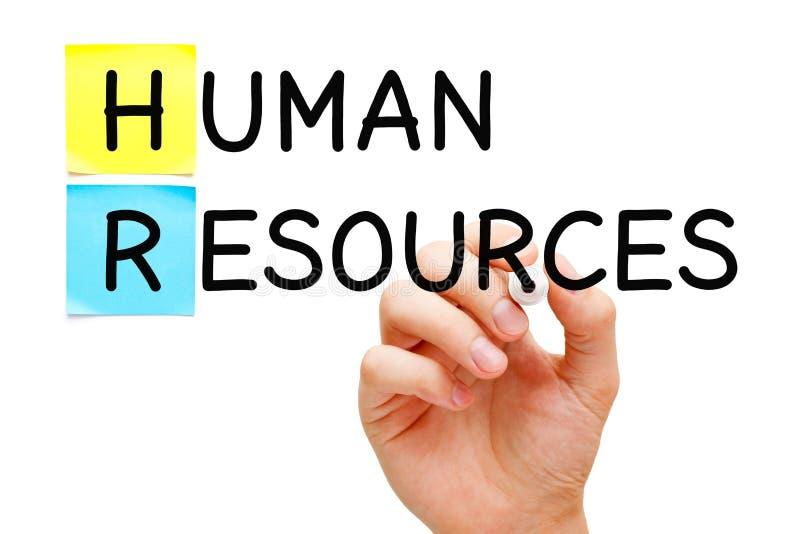 Conceito dos recursos humanos escrito à mão com marcador preto foto de stock royalty free