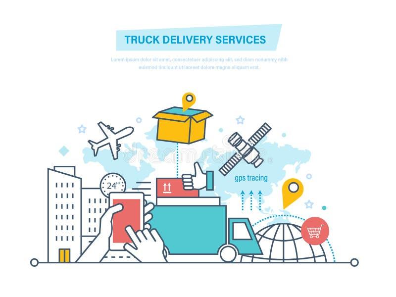 Conceito dos serviços de entrega do caminhão Transporte por caminhão, entrega Bens do transporte Produtos do transporte ilustração stock