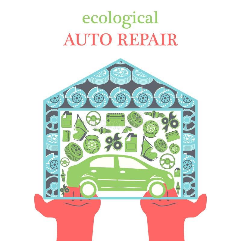 Conceito dos serviços de reparações do carro de Eco com ícones e peças sobresselentes do carro na garagem nas palmas para fora es ilustração stock
