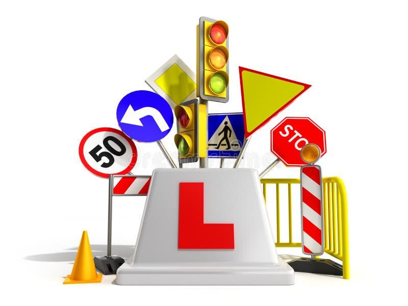 Conceito dos sinais dos sinais de estrada do logotipo da escola do motorista que cercam 3d para render no branco ilustração do vetor