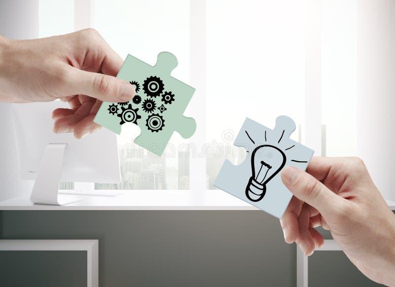 Conceito dos trabalhos de equipa, da cooperação e da ideia ilustração stock