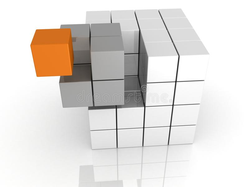 Conceito dos trabalhos de equipa do cubo do unicue da individualidade ilustração stock