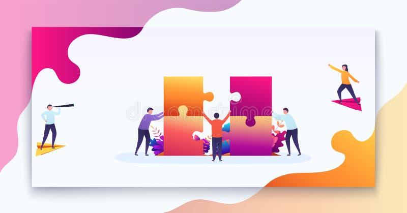 Conceito dos trabalhos de equipa do negócio A equipe dos povos conecta partes dos enigmas, finalidade do pensamento, decisão empr ilustração royalty free