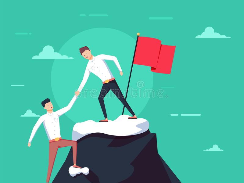 Conceito dos trabalhos de equipa Dois homens de negócios aumentam junto na montanha com bandeira Dê a mão da ajuda Conceito da co ilustração stock