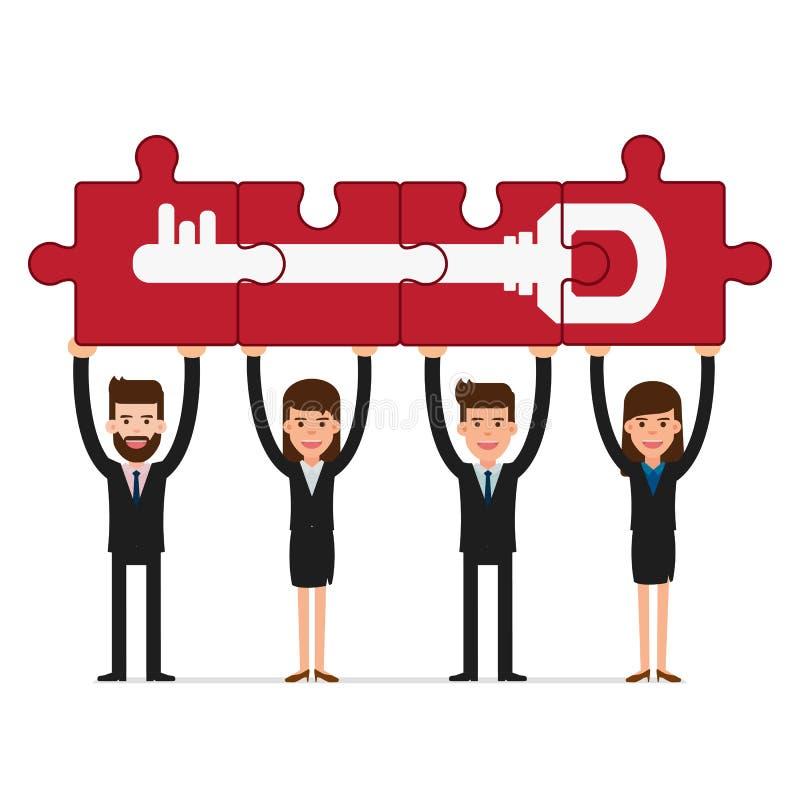 Conceito dos trabalhos de equipa Executivos que guardam a chave do sucesso do enigma ilustração stock
