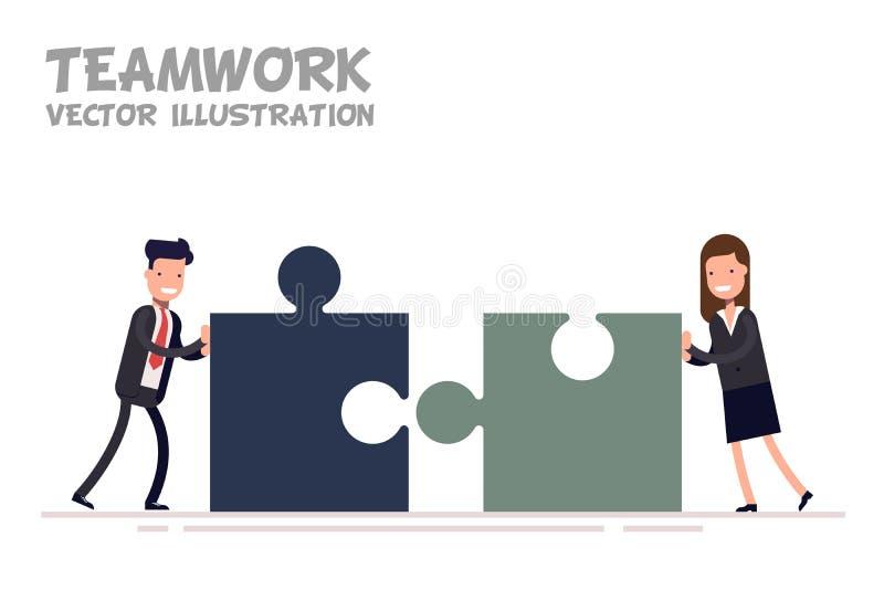 Conceito dos trabalhos de equipa Homem de negócios e mulher de negócios ou gerentes junto ilustração royalty free