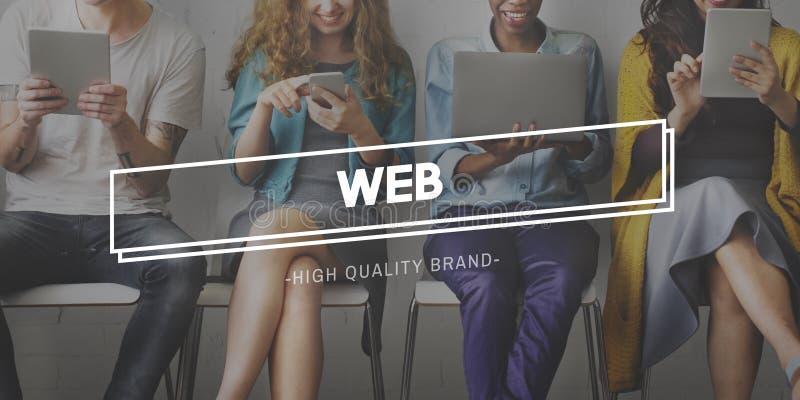 Conceito dos trabalhos em rede da conexão do desenvolvimento do alojamento web imagem de stock