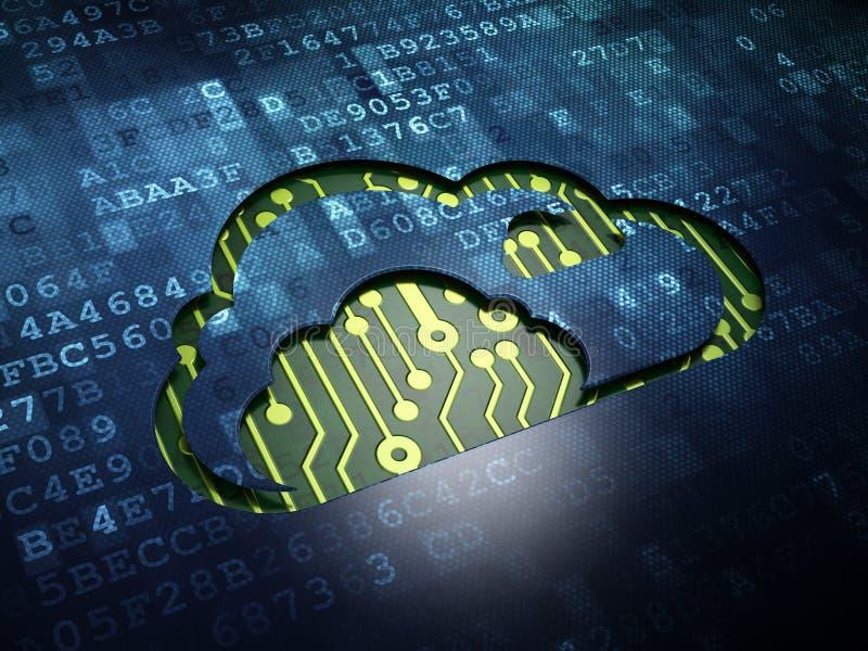 Conceito dos trabalhos em rede da nuvem: Nuvem na tela digital ilustração do vetor