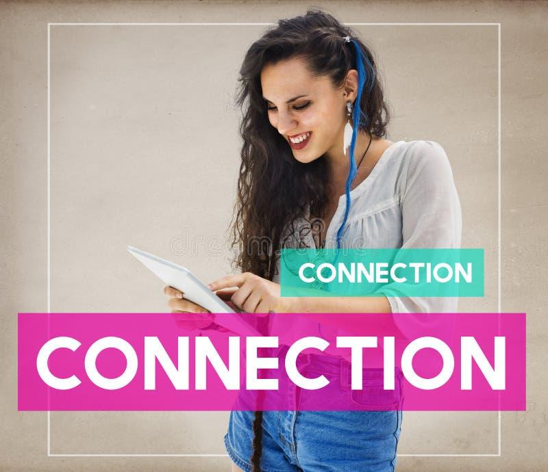 Conceito dos trabalhos em rede de Woman Communication Connection do estudante imagem de stock