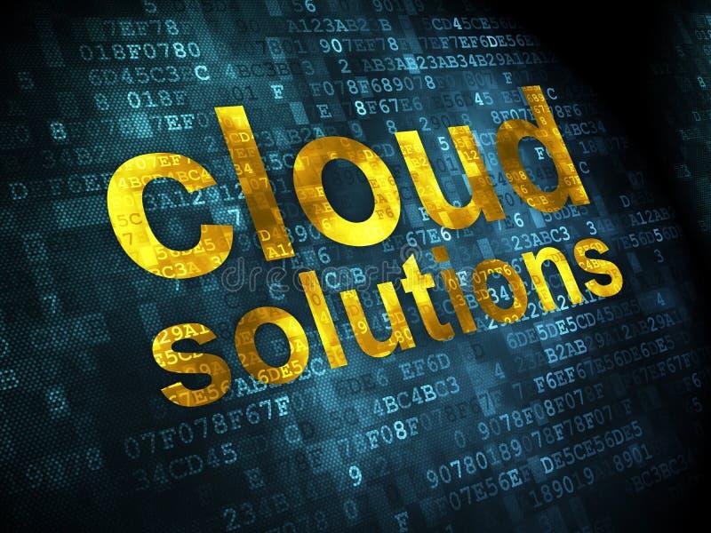 Conceito dos trabalhos em rede: Soluções da nuvem no fundo digital ilustração royalty free