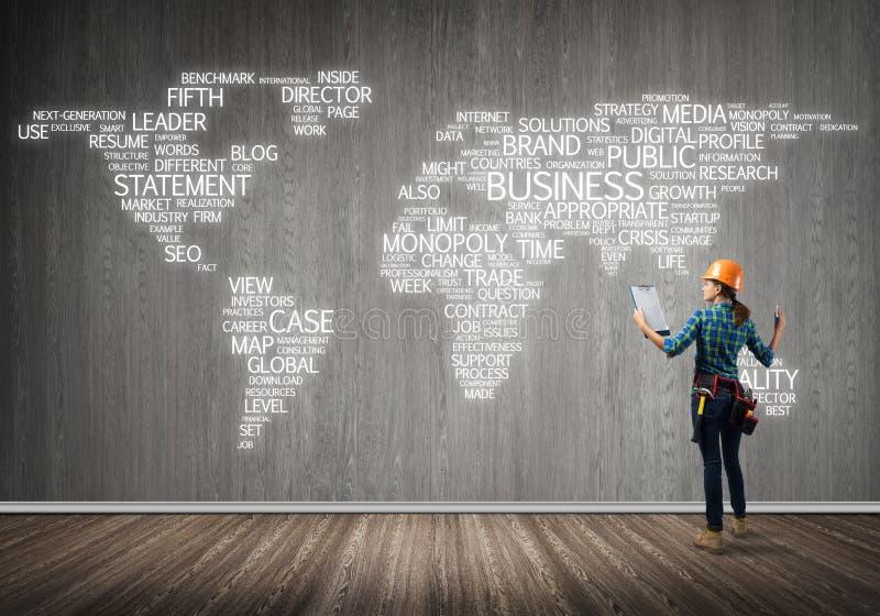 Conceito e globalização da construção fotos de stock