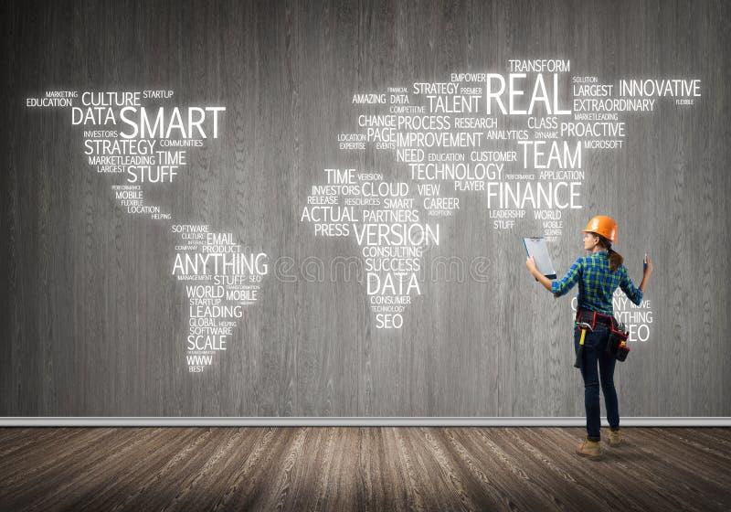 Conceito e globalização da construção imagem de stock