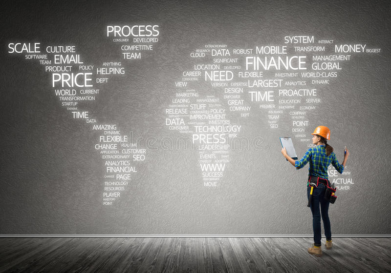 Conceito e globalização da construção fotos de stock royalty free