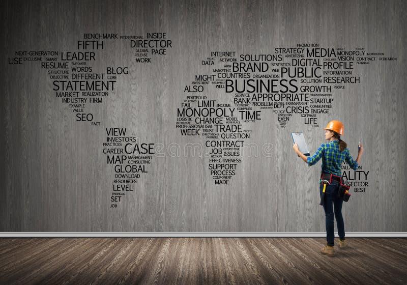 Conceito e globalização da construção imagens de stock