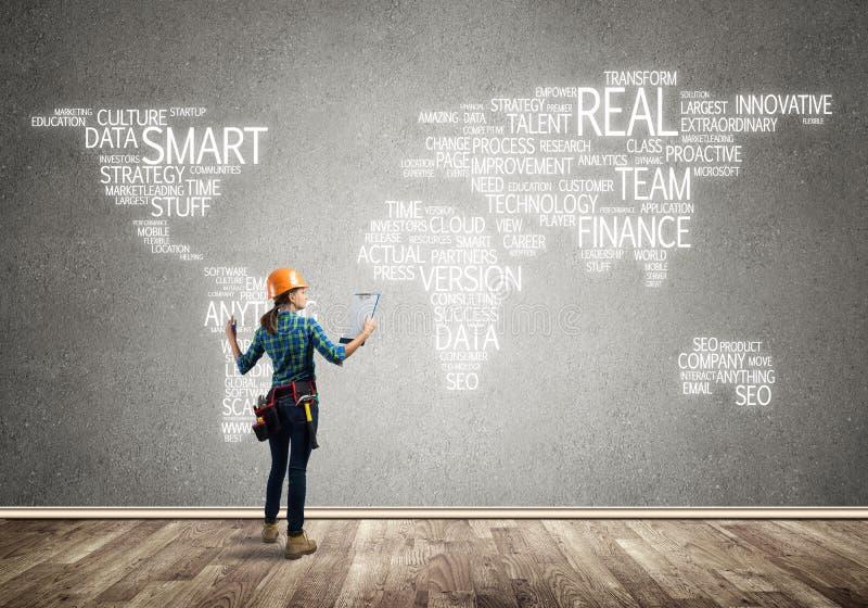 Conceito e globalização da construção imagem de stock royalty free