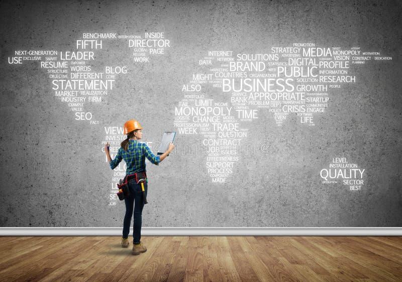 Conceito e globalização da construção imagens de stock royalty free