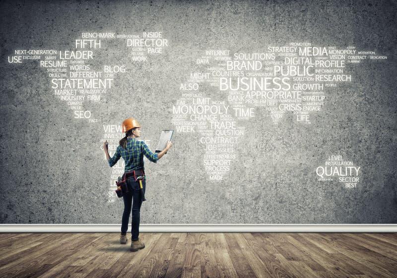 Conceito e globalização da construção foto de stock