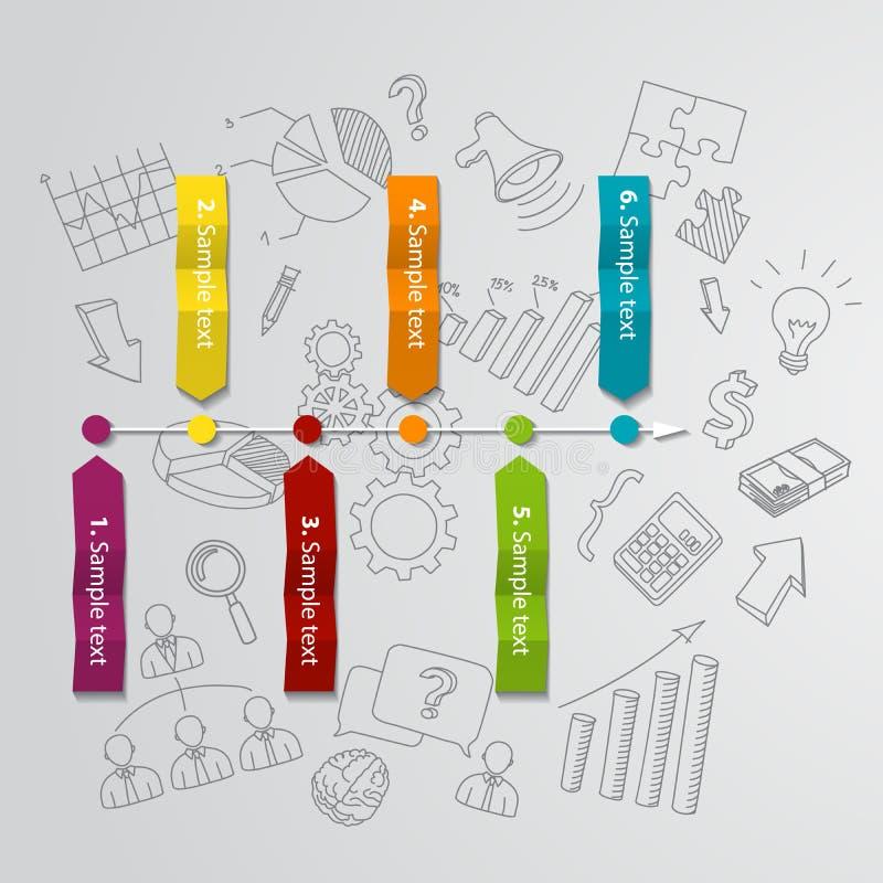 Conceito e mão infographic de mercado tirados ilustração do vetor