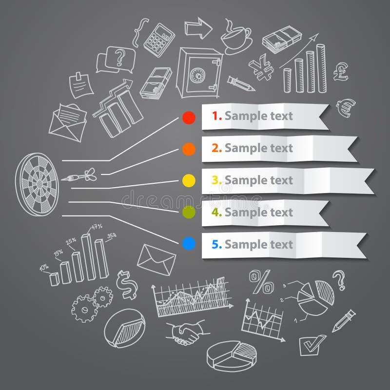 Conceito e mão infographic de mercado tirados ilustração stock