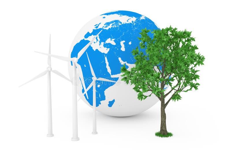 Conceito ecológico da energia Moinhos de vento da turbina eólica, globo da terra e árvore verde rendição 3d fotografia de stock