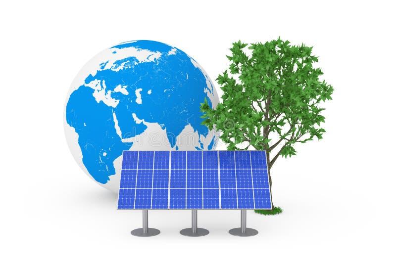 Conceito ecológico da energia Painel azul do teste padrão da célula solar, globo da terra e árvore verde rendição 3d fotografia de stock royalty free