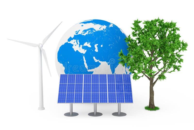Conceito ecológico da energia Painel azul do teste padrão da célula solar, moinho de vento da turbina eólica, globo da terra e ár fotografia de stock