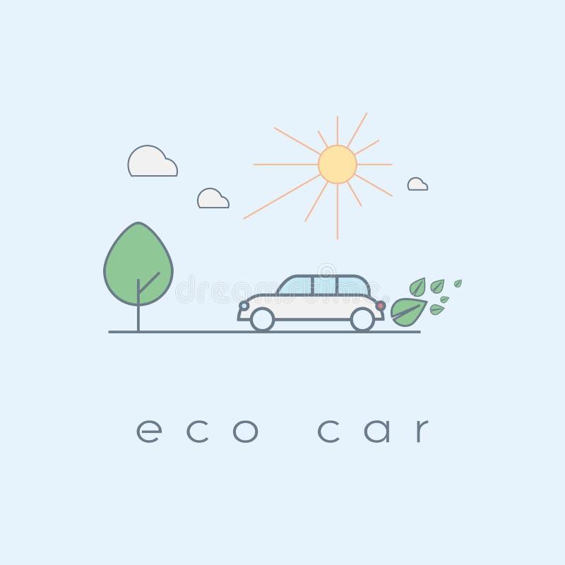 Conceito ecológico do carro na linha moderna projeto da arte ilustração stock