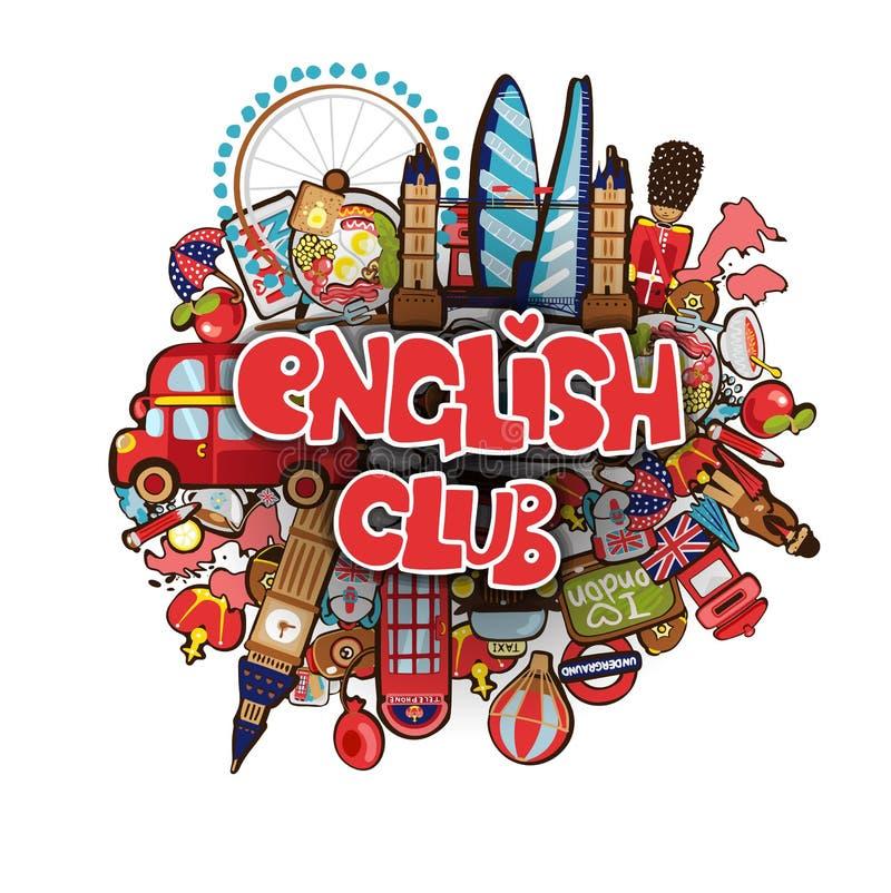 Conceito educacional do clube inglês A frase inglesa do clube na garatuja dos desenhos animados objeta no tema de Londres - ben g ilustração do vetor