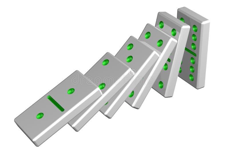Conceito: efeito de dominó rendição 3d ilustração royalty free