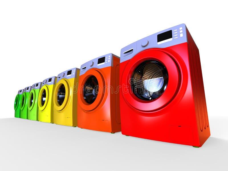 Conceito efficiencent da máquina de lavar da energia ilustração stock
