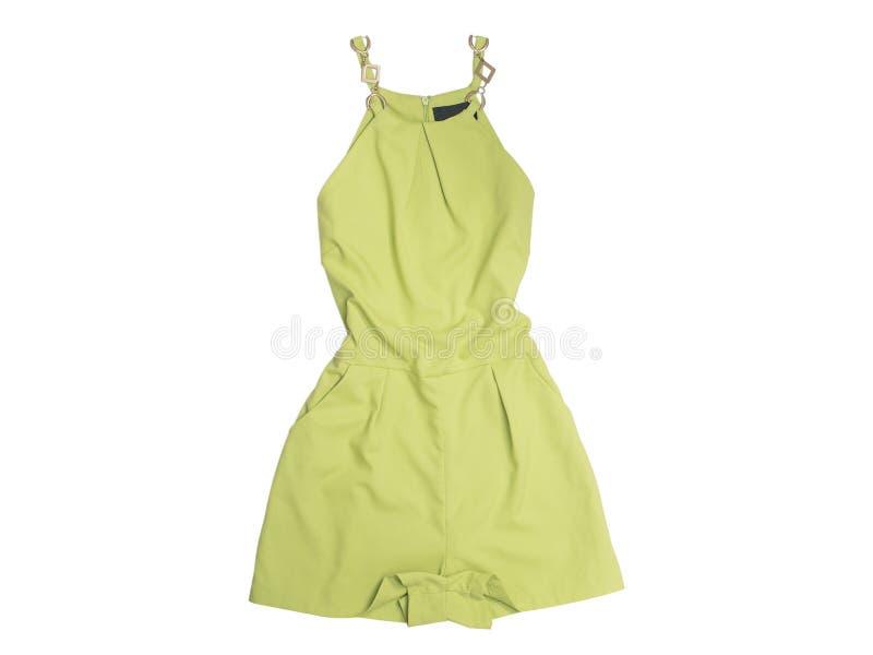 conceito elegante Vestuário fêmea do verão Romper do cal Vista superior Isolado no fundo branco fotografia de stock