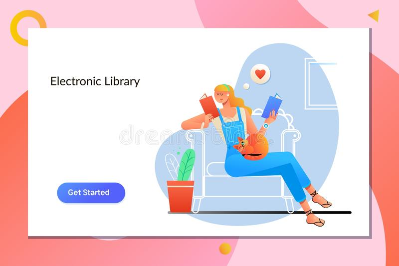 Conceito eletrônico da mobilidade do Internet do ensino eletrónico de EBook Jovem mulher em casa que senta-se na cadeira moderna  ilustração do vetor