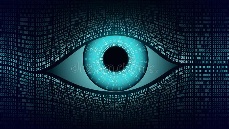 Conceito eletrônico do olho do big brother, tecnologias para a fiscalização global, segurança de sistemas informáticos e redes ilustração do vetor