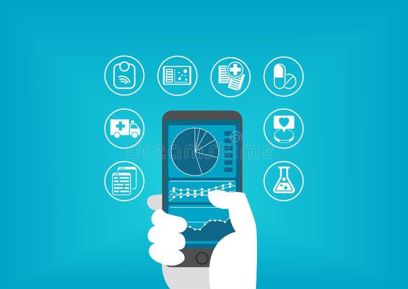 Conceito eletrônico dos cuidados médicos (e-saúde) com a mão que guarda o telefone esperto para alcançar informes médicos digitai ilustração royalty free