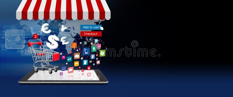 Conceito em linha da compra do carrinho de compras na tabuleta digital fotografia de stock royalty free