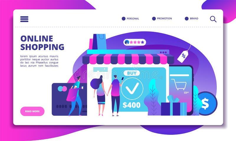 Conceito em linha da compra Tecnologia moderna do pagamento com telefone celular na loja em linha Projeto do Web site da loja do  ilustração stock