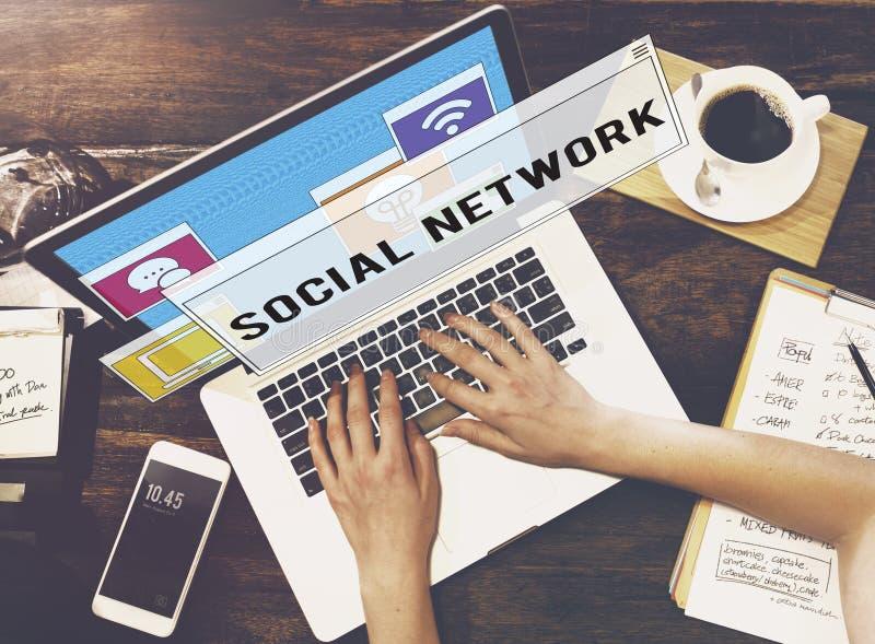 Conceito em linha da conexão dos trabalhos em rede da tecnologia de comunicação imagem de stock