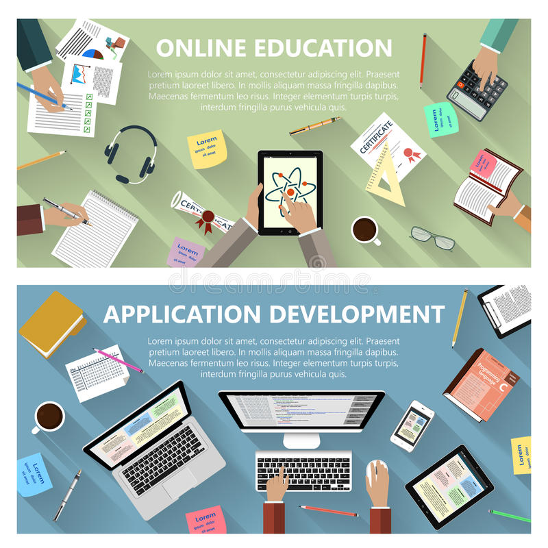 Conceito em linha da educação e do desenvolvimento do app ilustração do vetor