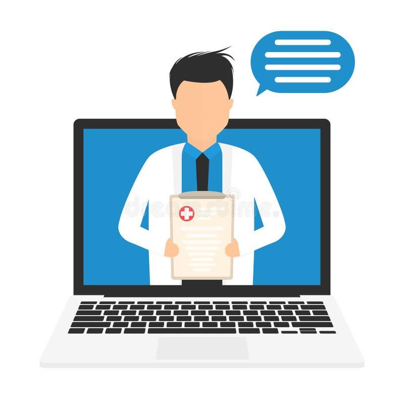 Conceito em linha da medicina Cuidados médicos em linha de Digitas Doutor ou farmacêutico em linha, consulta médica ilustração stock