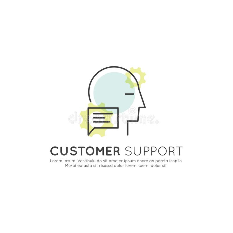 Conceito em linha da plataforma da consulta com caixa de diálogo e perfil humano ilustração stock