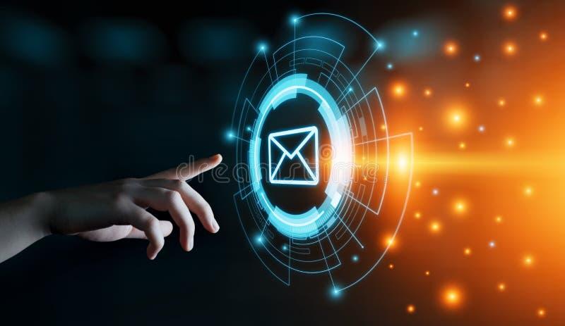 Conceito em linha da rede da tecnologia do Internet do negócio do bate-papo de uma comunicação do correio do email da mensagem foto de stock