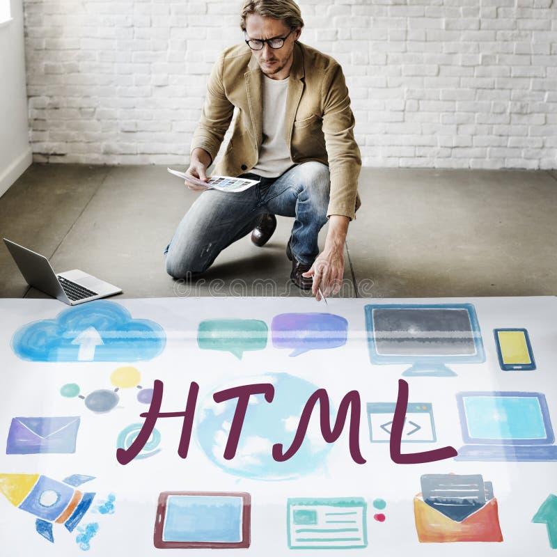 Conceito em linha da tecnologia do Internet da linguagem de programação do HTML imagens de stock royalty free