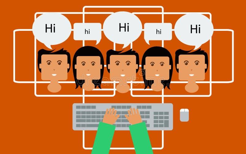 Conceito em linha do bate-papo, bate-papo dos povos do Internet ilustração do vetor