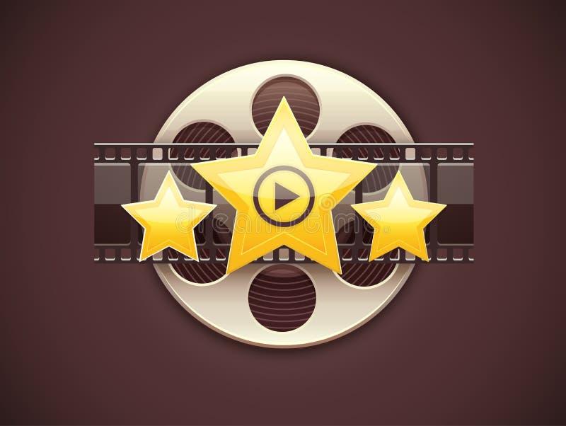 Conceito em linha do logotipo do ícone do cinema com filme ilustração stock
