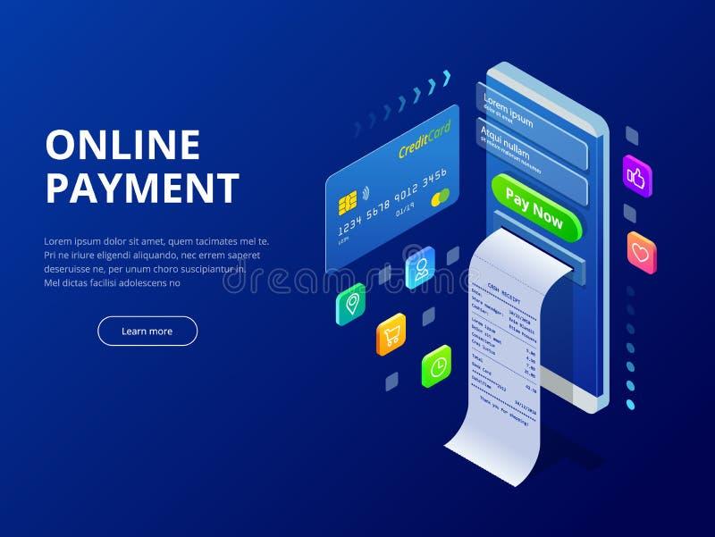 Conceito em linha do pagamento em linha isométrico Pagamentos do Internet, transferência de dinheiro da proteção, ilustração em l ilustração do vetor