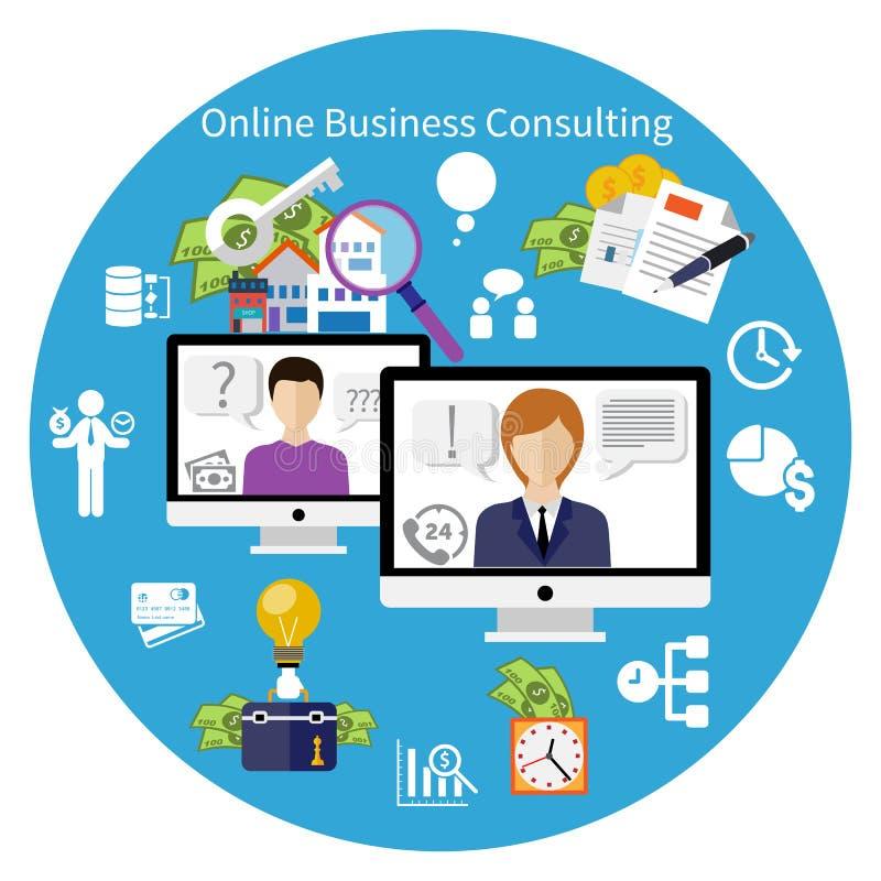 Conceito em linha do serviço de consultadoria do cliente ilustração stock