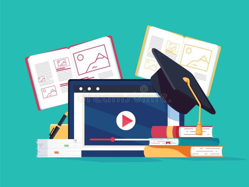 Conceito em linha do tutoria E-livros, processo dos cursos do Internet Ilustração do vetor estudo de computador com livros ilustração stock
